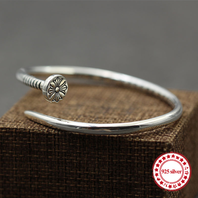 S925 sterling silver Bangles bracelet personality classic punk hip-hop fashion style cross flower shape send lover's gift