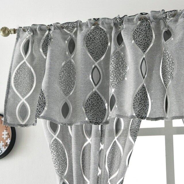Jacquard breve tenda mantovana tenda cucina casa porta del soggiorno balcone trattamento di finestra tenda moderna geometrics