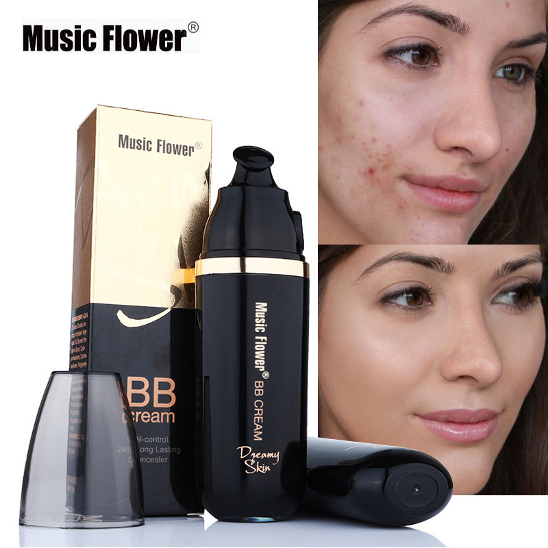 Music Flower 3 Colors Natural Face BB Cream Makeup Concealer Full Cover Creamy Foundation Waterproof Long Lasting Make Up Base