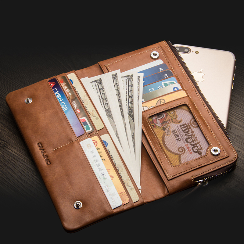 QIALINO Genuine Leather Wallet Cover for Apple for iPhone 8 Pure Handmade Pouch with Card Slot