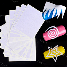 YZWLE 12 Sheets Nail Stickers Geometry Stripe French Nail Vinyls Circle DIY Nails Art Stencil Tip Guide Decoration