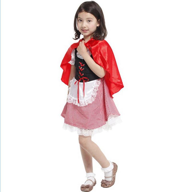 Girls Little Red Riding Hood Dress Costumes For kids 2017 Halloween Cosplay Costume Kits Carnival Fantasias Para Festas Infantil