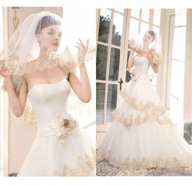 Online buy wholesale gold white wedding dress from china for White and gold lace wedding dress