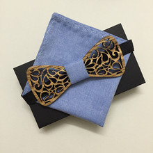 Wooden Bow Tie With Solid Blue Pocket Square