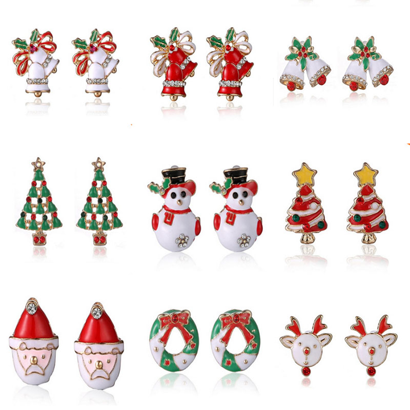 Hot Snowman lovely Tree Bell Christmas Jewelry Christmas Earring For ...