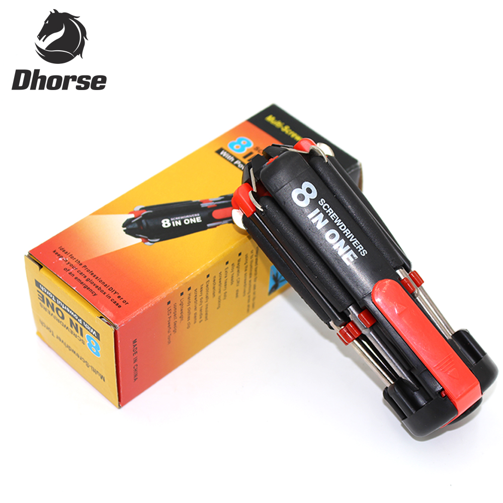 8 in 1 Multi Portable Screwdriver With 6 LED Torch Tools Light Up Flashlight ZT
