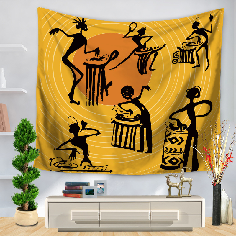 Africa Original People Printed Tapestry Wall Hanging Home Decor Bohemian Style Yellow Table Cloth Bedspread Yoga Mat Blankets  yoga mat yellow Africa Original People Printed Tapestry Wall Hanging Home Decor Bohemian Style font b Yellow b font