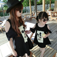 2015 New Summer Style Matching Mother And Daughter Dresses Cartoon Printed Strapless Dress Family Style Mother