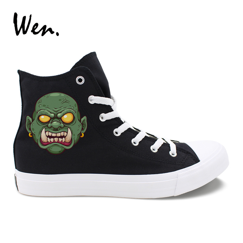 US $24.99 49% OFF|Wen Design Black White Style Casual Shoes Cartoon Tusky Green Zombie Monster High Top Mens Sneakers Canvas Womens Flattie in Men's