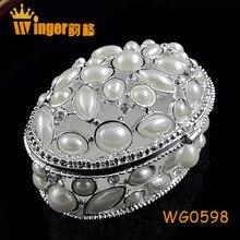 Ellipse Hollow Pearl Casket Women Gift Jewelry Trinket Box DIY Display Wedding Decor Magnet Metal Crafts Souvenir