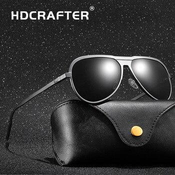 43b6c66700 HDCRAFTER de los hombres de la marca de aluminio y magnesio, gafas de sol  polarizadas HD UV400 espejo hombre conducción gafas de sol para hombres, ...