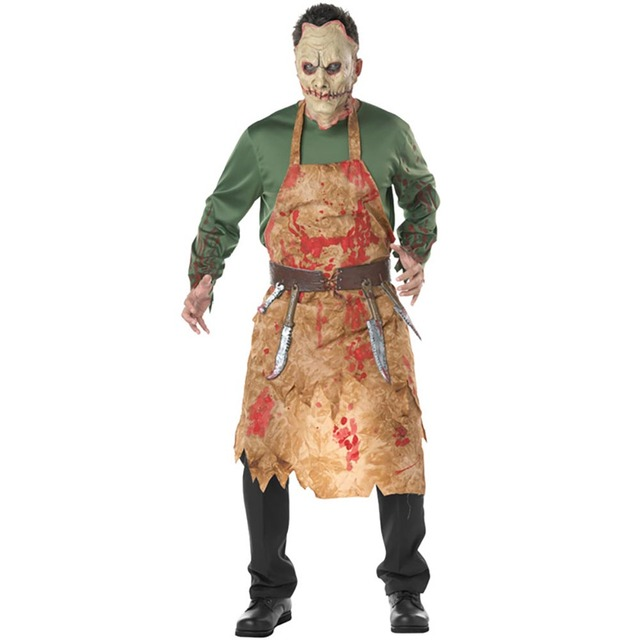 adult bloody butcher costume horror ghoul killer costume scary halloween fancy dress shirt mask apron belt