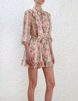 Для женщин цветочным принтом Длинные рукава глупость шеи галстук Шелковый ruffle playsuit и короткий комбинезон с поясом