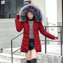 Winter jacket women parka oblique zipper with hat long womens