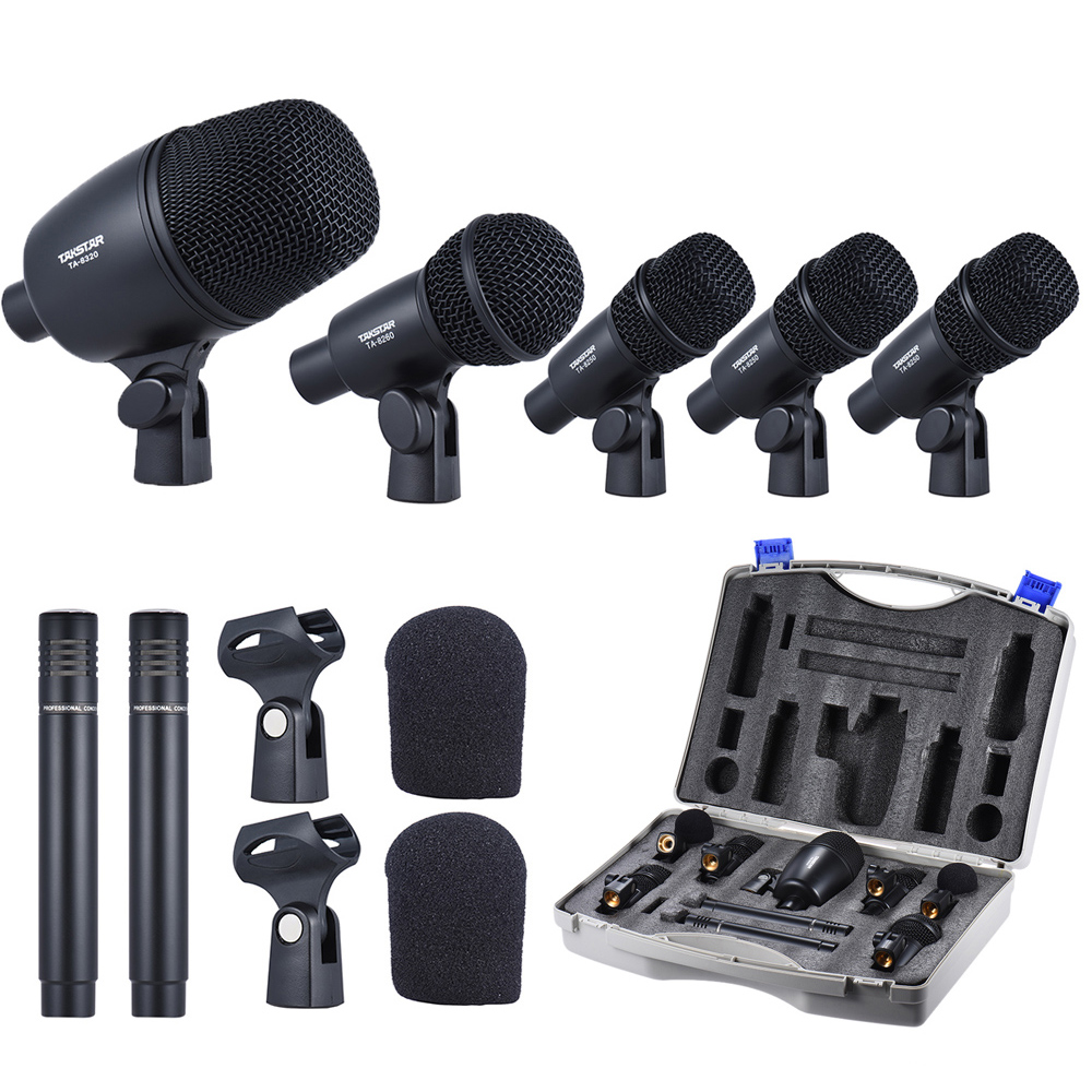Professional Wired Microphone Mic Kit with 1 Drum Microphone 4 Small Drum Microphones 2 Condenser Microphones