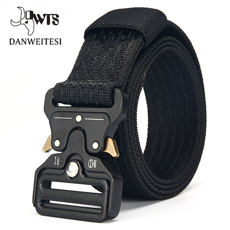 [DWTS]Military Equipment Combat Tactical Nylon Belts For Men Army Training Nylon Metal Buckle Waist Belt Outdoor Waistband