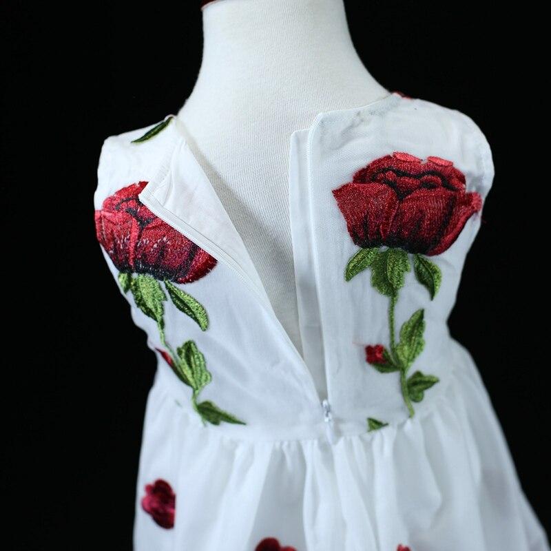 Marque mesh emb rose fleur maman filles vacances plage robe famille vêtements soirée robe mère et fille robes d'été - 3