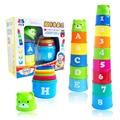 Magic speed flying taza pila jenga saber los números y letras deporte stacking Eductional juguetes para niños