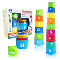 Velocidade mágica voador pilha cup sport stacking jenga conhecer os números e letras Eductional brinquedos para as crianças