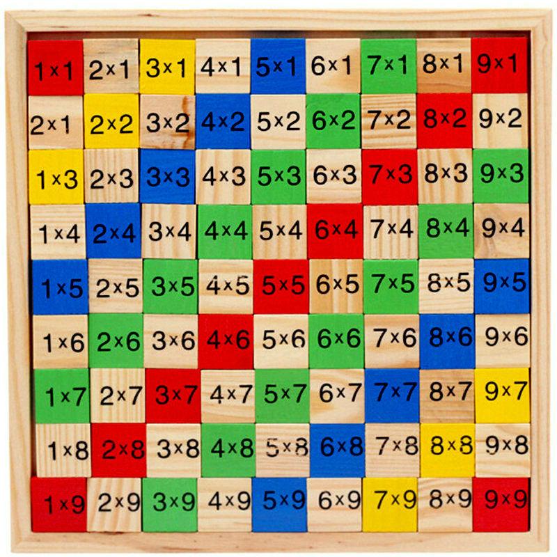 Nemokamas pristatymas Vaikų medinis dauginimasis skaičiavimo lapas 81PCS blokų žaislas, vaikai Medienos mokyklos ugdymo reikmenys Vaikų žaislas