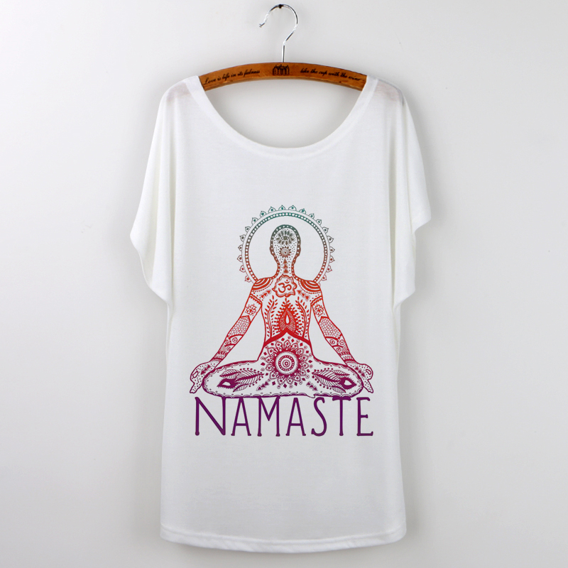 Blusa Unicorn Namaste Művészeti nyomtatás Nyári felsők Új alkalmi póló Női póló Harajuku laza ujjú póló Poleras De Mujer
