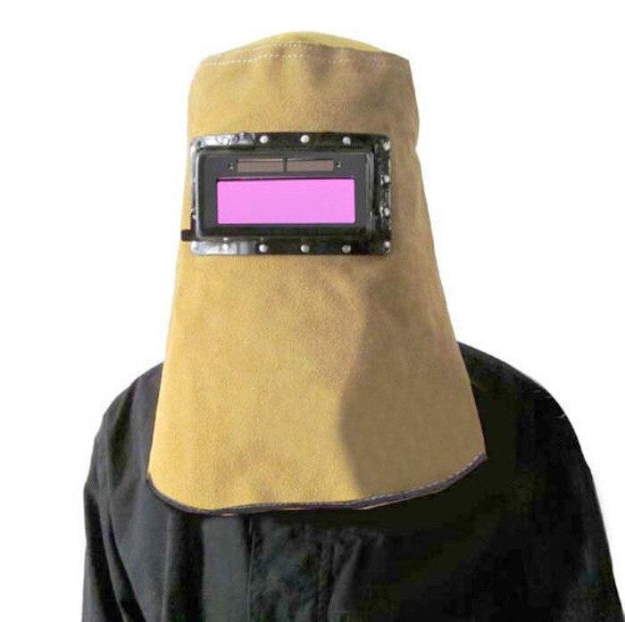 Arbeitsplatz Sicherheit Liefert Schutzhelm Einstellbar Rot Leder Gesicht Hals Geschützt Objektiv Gläser Schweißen Haube Helm Maske Overhead Arbeit Sicher Sicherheit Schweißen Helm