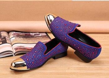 CH.KWOK gold toe and purple full rhinestone handmade men loafers men fashion leather slippers men party wedding dress men's flat