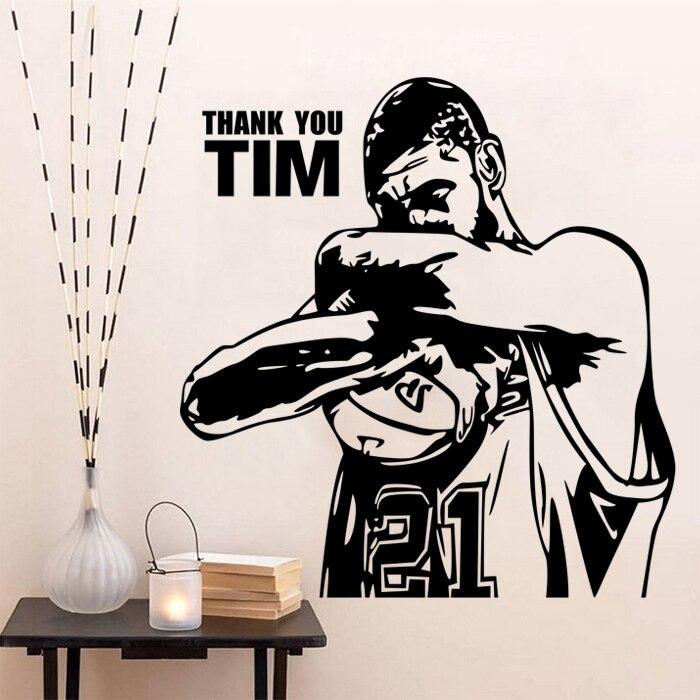 New arrival Vinyl wall art sticker basketball Star Tim Duncan wall stickers wall decoration stickers wall Decor mural in Wall Stickers from Home Garden