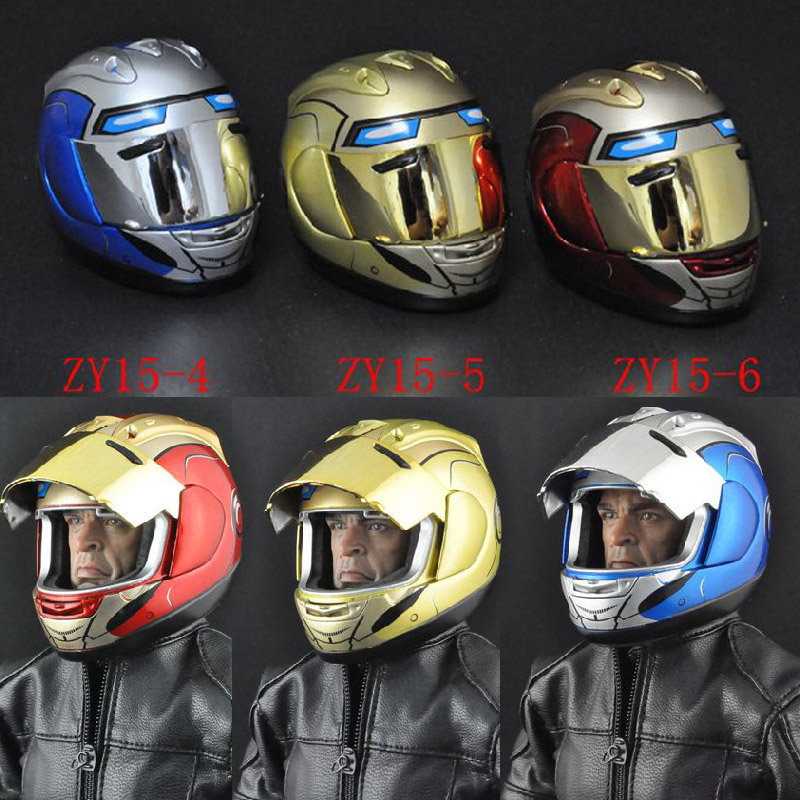 все цены на 1/6 Scale accessories ZY toys Blue/Red/Yellow Motorcycle Helmet Mask Full Face Model Fit 12 Inch HTtoys Action Figures