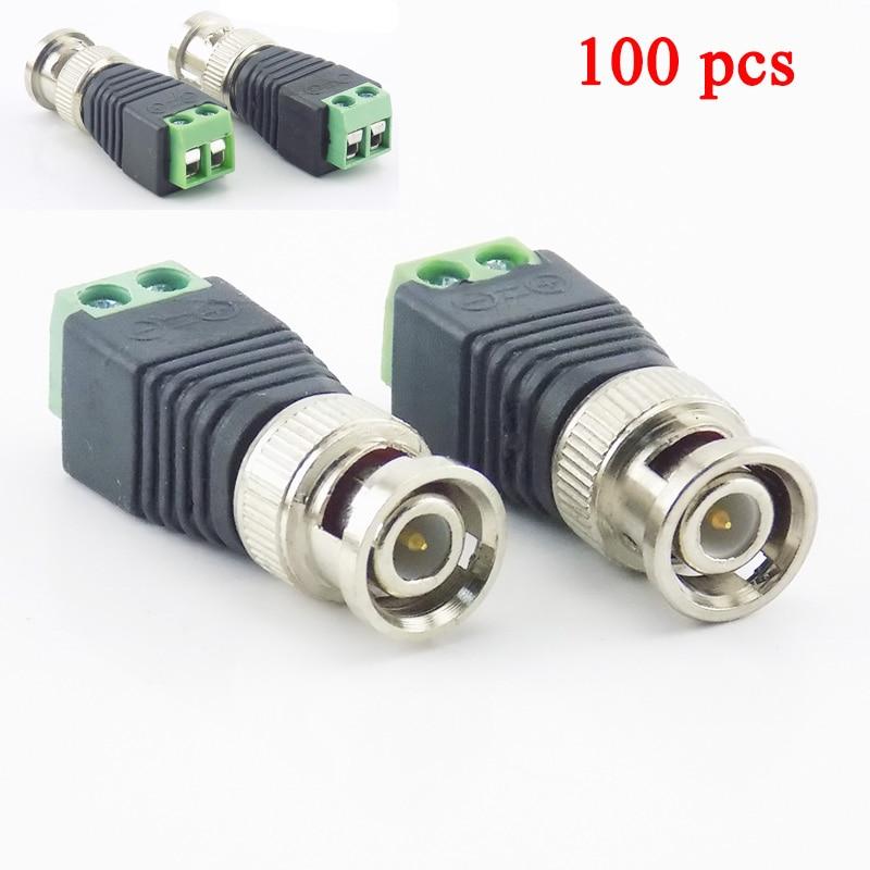 Gakaki 100Pcs/Lot Wholesale Coax Cat5 To Bnc Male Connector Coax Av Plug Adapter BNC UTP Video Balun Connector Adapter BNC Plug