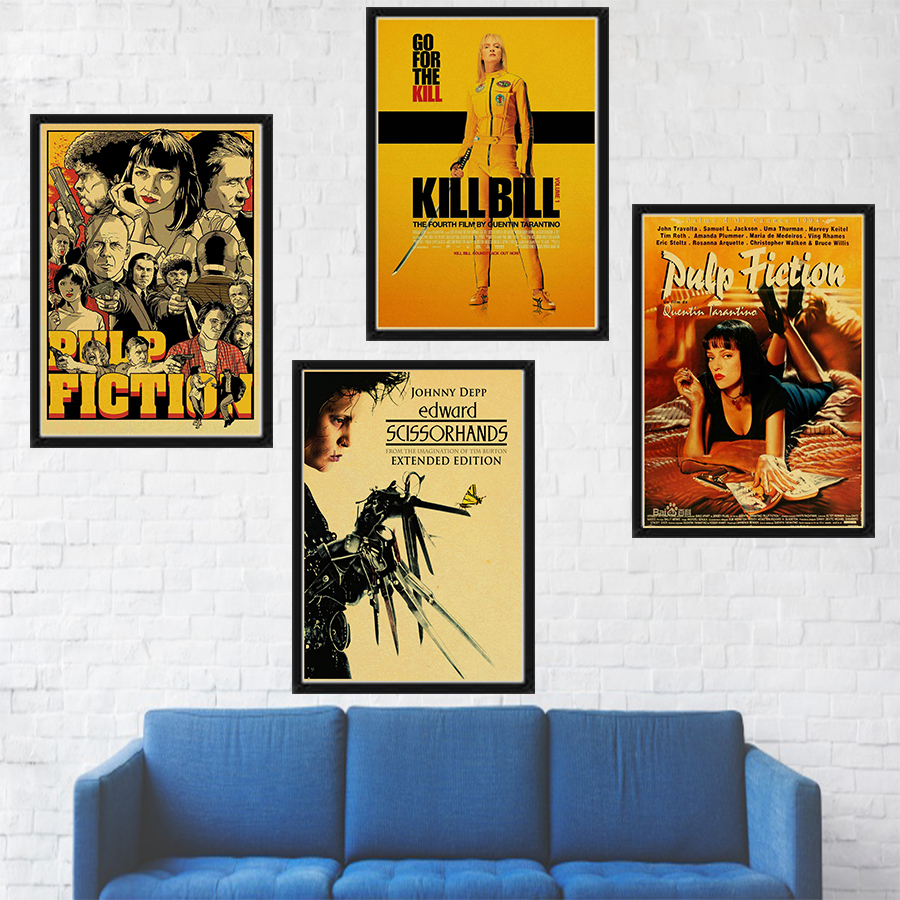 Classic Movie The Godfather/pulp Fiction/fight Club/kill Bill/leon/inglourious Basterds Poster Wall Art Kraft Paper Painting