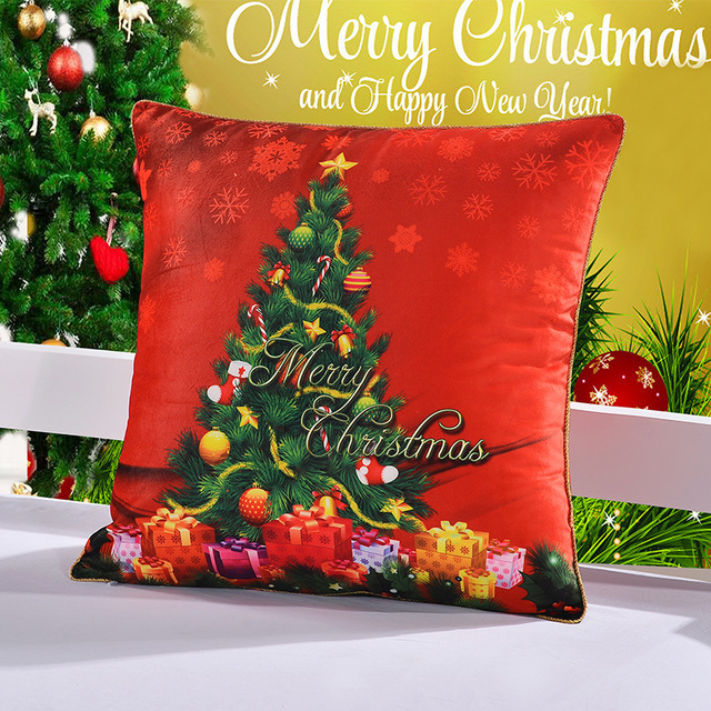 Square digital printing decorative cushion cover super soft comfort velvet fabric warm cartoon style Christmas party pillowcover