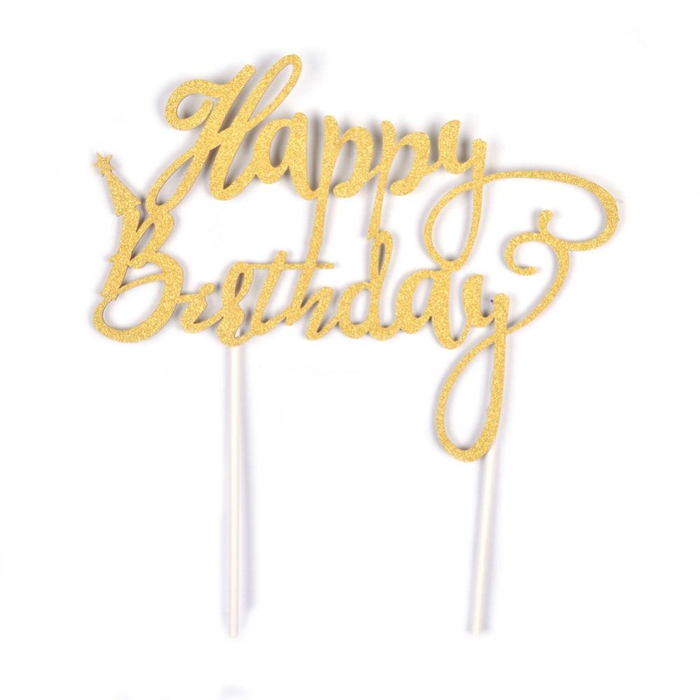 Gelukkige verjaardag Gouden Glitter taart Topper kalligrafie Topper - Feestversiering en feestartikelen