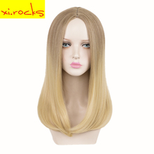 3515 Xi.rocks Natural Hair Straight Gold Synthetic Wigs Ombre Medium Length Hair Ivanka Trump Cos Wig High Temperature Fiber недорого