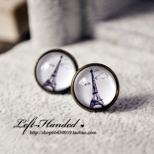 Free shipping~~ Vintage earring handmade ring colorful Eiffel Tower time gem stud earrings gift for valentine's day