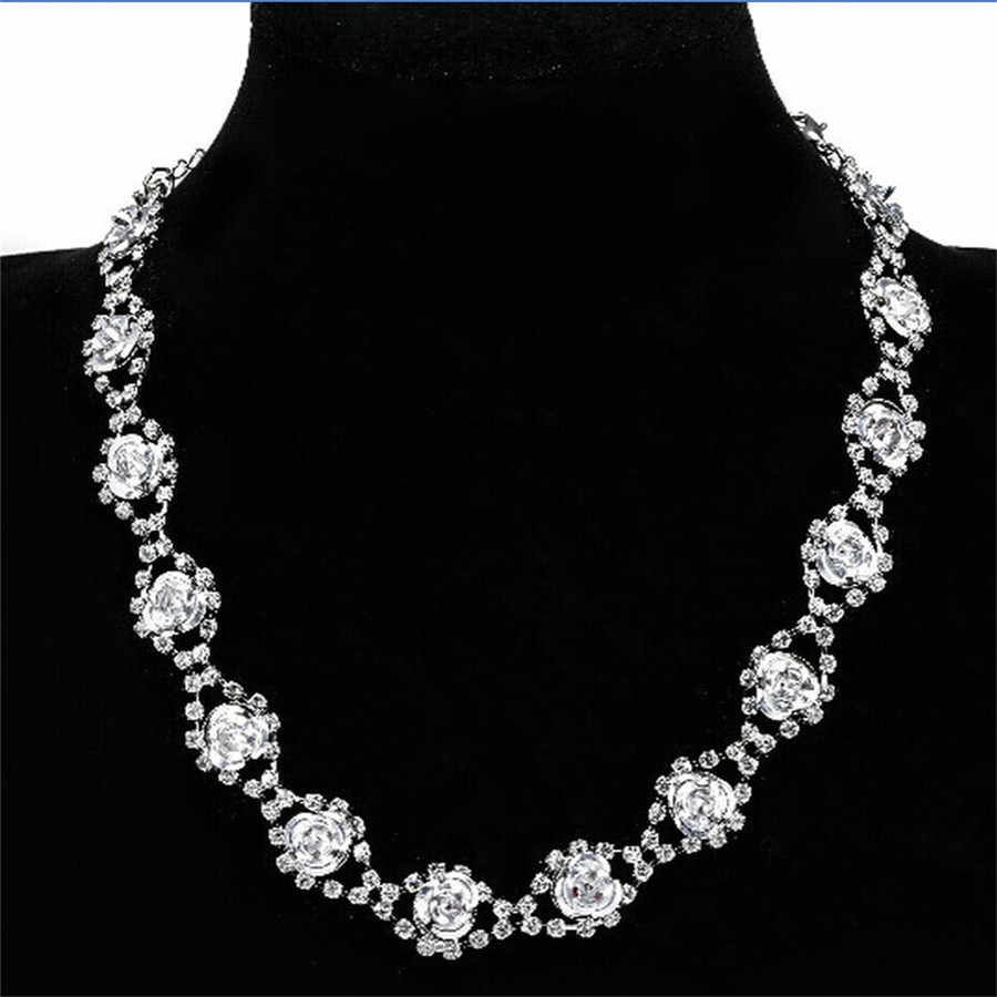 New Clavicle Choker Necklace Women Vintage Rose Flower Crystal Statement Necklace Silver Long Collares gargantillas cortas mujer