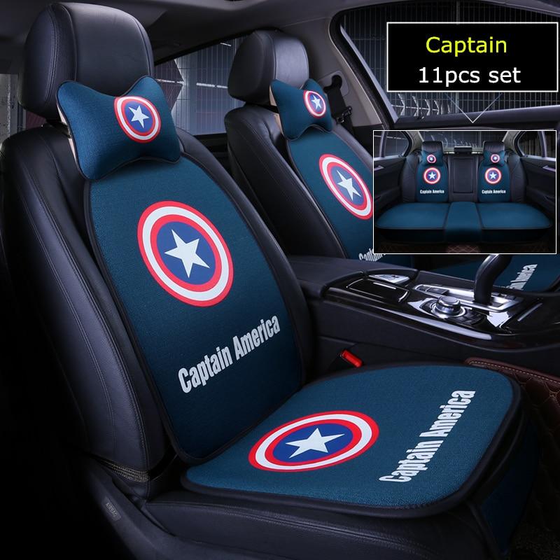 11pcs set cartoon marvel car seat cover batman captain american auto covers 5 seats cushion set