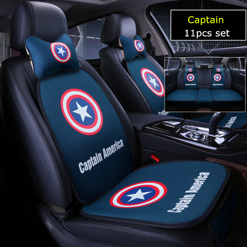 11pcs/set cartoon marvel car seat cover batman captain american auto covers 5 seats cushion set universal for all cars styling-in Automobiles Seat Covers from Automobiles & Motorcycles    1