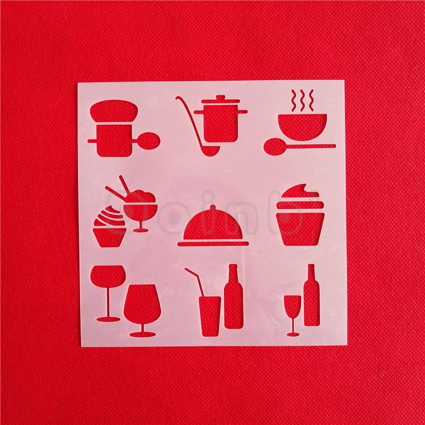 Kitchen Dining And Bar Logo Cupcake Stencil Sugar Sieve Cake Mold Frosting Spray Fondant Cake