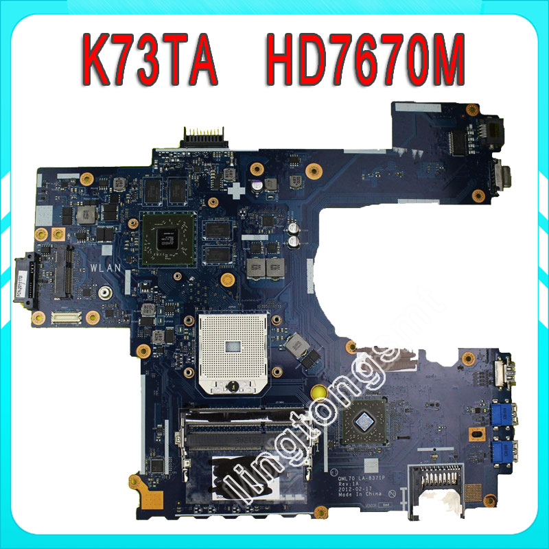 K73TA For ASUS K73T X73T K73TA K73TK R73T Latop motherboard REV 1A QBL70 LA-7553P hd7670m 1gb Mainboard 100% tested ok 511743p rushed five drill special polymer lithium battery factory outlet