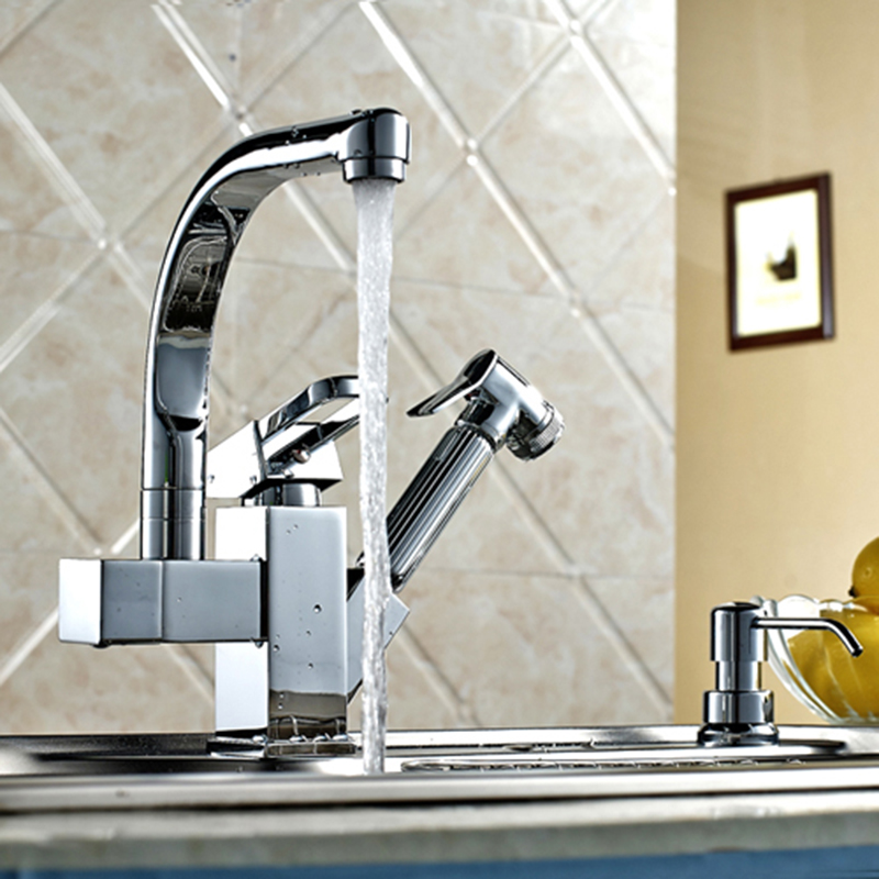 US $82.11 31% OFF|Kitchen faucet Kitchen pull tap Single handle double  outlet tap Large orders best selling hot tap Multifunctional kitchen  faucet-in ...