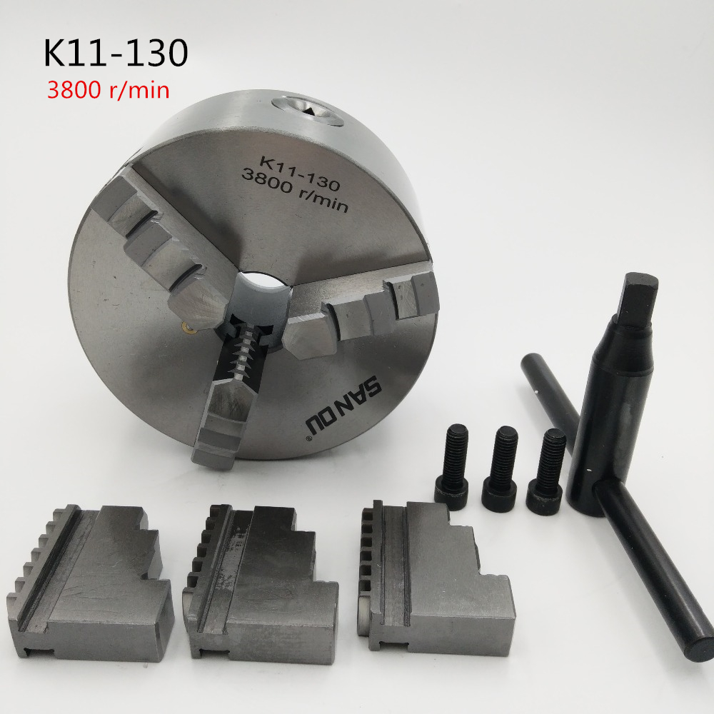 3 Jaw Lathe Chuck Self-Centering 5 K11-130 K11 130 Hardened Steel for Drilling Milling Machine Wrench and Screws manual lathe chuck k01 80b k01 100b mini 3 jaws chuck 14 1 self centering clamping hardened steel lathe chuck