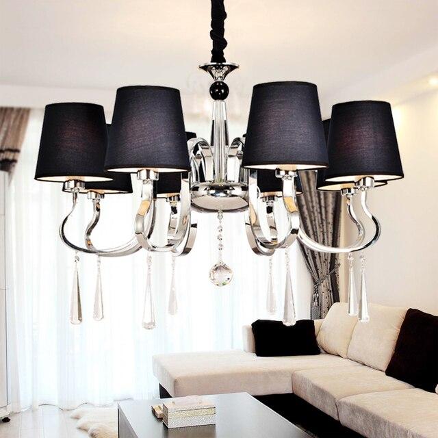 US $74.73 29% di SCONTO|Moderno Paralume In Tessuto Illuminazione  Lampadario Moderno Soggiorno Luce Lampadario Nero Vernice del Metallo di  Alta ...