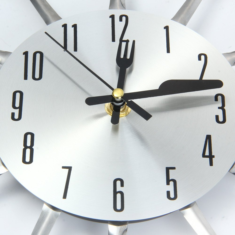 kitchen clocks small remodels modern design 3d digital wall clock stainless steel knife fork large watch quartz for home office decoration in from