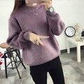 2016 Outono Inverno Moda Feminina mohair suéteres de Cashmere Manga longa Camisola Ocasional Pullovers tops Blusas mohair de Malha Para Fora