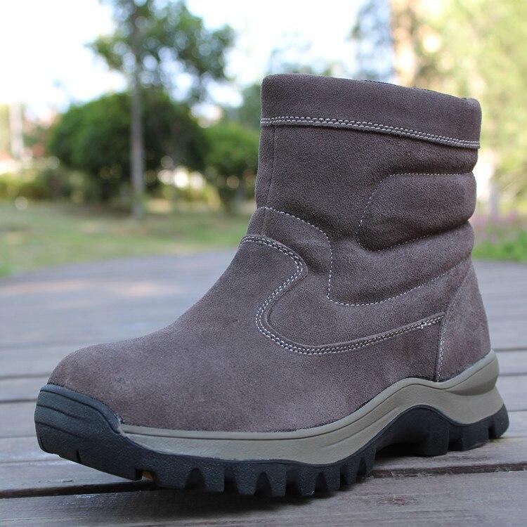 Winter Man Sheep Wool Boots Men Genuine Leather Boots Fur Snow Boot Waterproof Zip Nubuck Warm