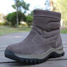 Зимние мужские Обувь с овечьей шерстью Сапоги и ботинки для девочек Для мужчин ботинки из натуральной кожи зимние сапоги на меху Водонепроницаемый молнией из нубука теплые полусапожки Bottes