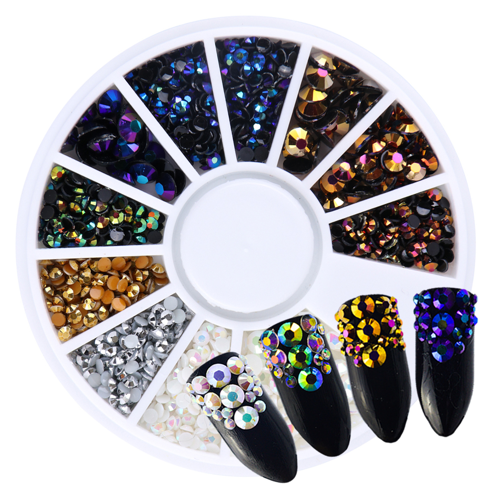 Nail Art Decoration Glitter Gold Crystal Rainbow Neon AB Nail Stones Wheel Mix Size 3D Resin Jewelry Flat Back Manicure SA016