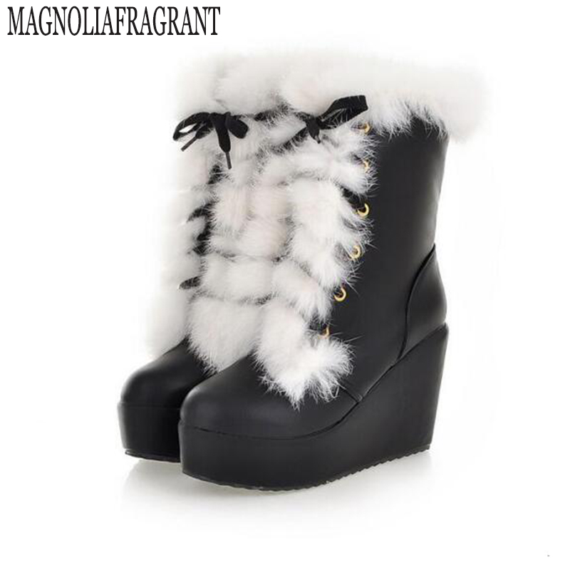 2017 New Rabbit wedge Sale Shoes Women Boots Solid Slip-On Soft Cute Women Snow Boots Round Toe Flat with Winter Fur Ankle Boots nayiduyun women genuine leather wedge high heel pumps platform creepers round toe slip on casual shoes boots wedge sneakers