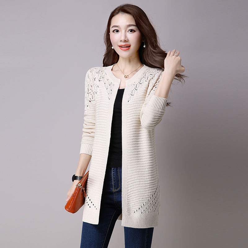 Knitted Women Jacket Out Loose Beige Medium Hollow Long Coat Female Autumn black 2018 Casual burgundy Sweater yellow Cardigan purple Spring 5gwtW